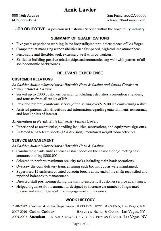 customer service hospitality resume