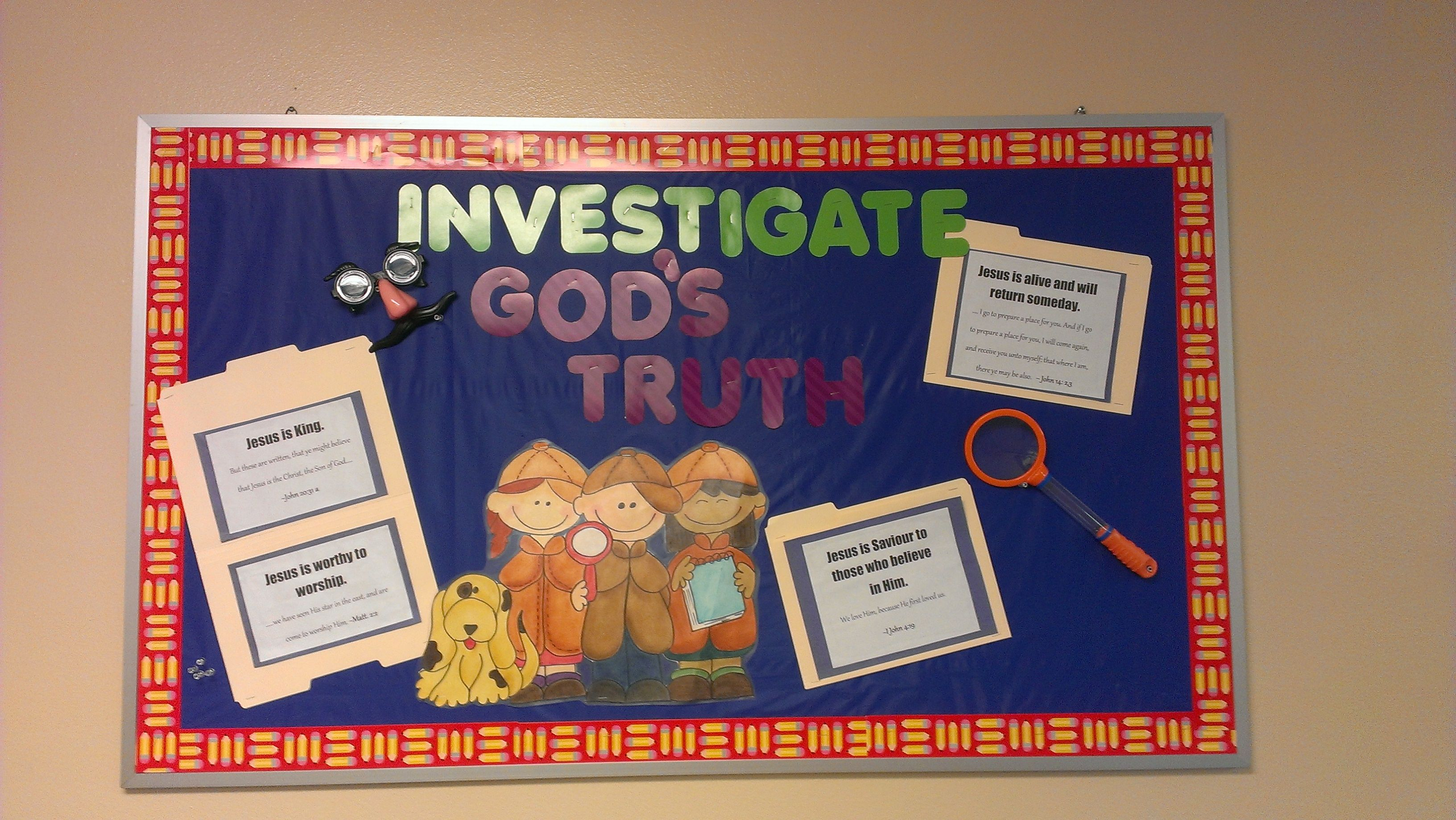 Investigate gods truths bulletin board vbs themes vbs