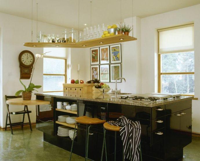 Hängeregal Kücheninsel Aufbewahrung Küchen offene Regale   Kitchen design, White modern kitchen ...