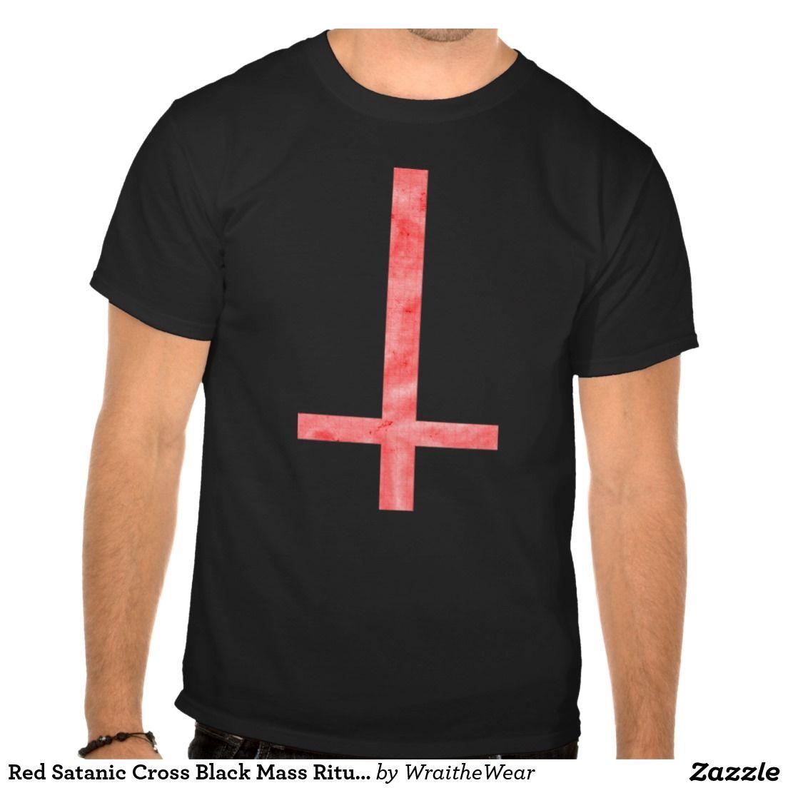 Red Satanic Cross Black Mass Ritual Symbol Tee  2531493bddb3c