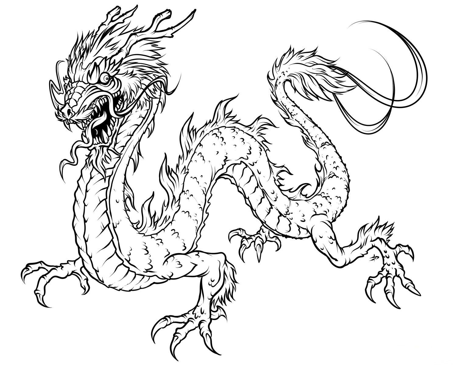 Dragons and Fairies Coloring Pages | Below is 10 realistic dragon ...