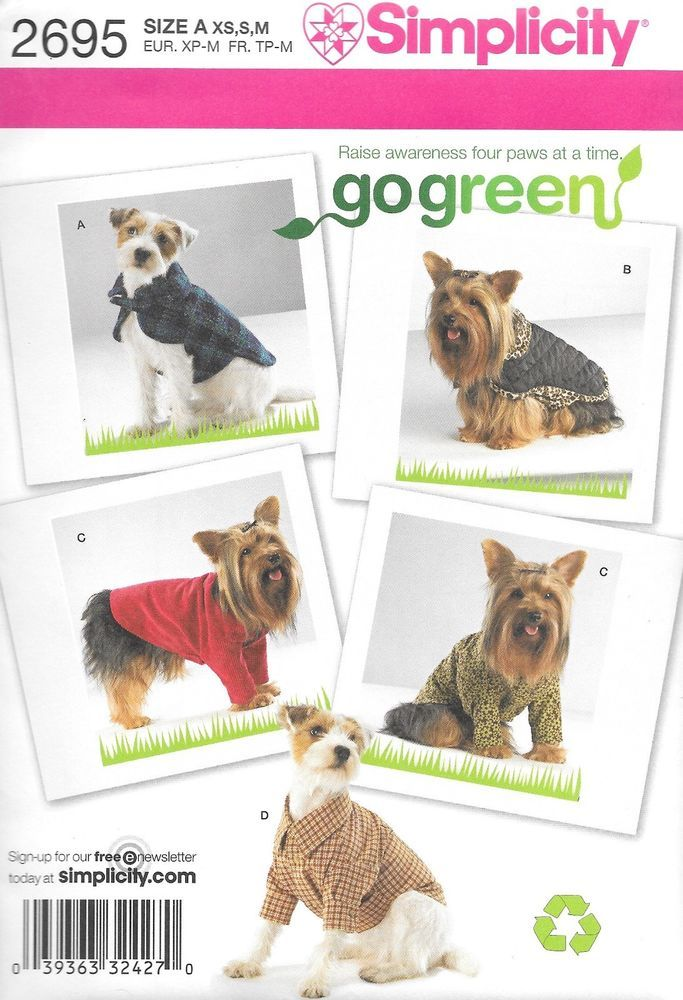 FREE SHIPPING! NEW! Simplicity Pattern 2695 - Dog Clothes ...