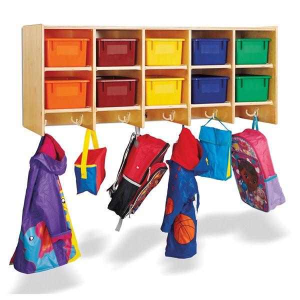 10 Section Wall Mount Coat Locker Kids Furniture For