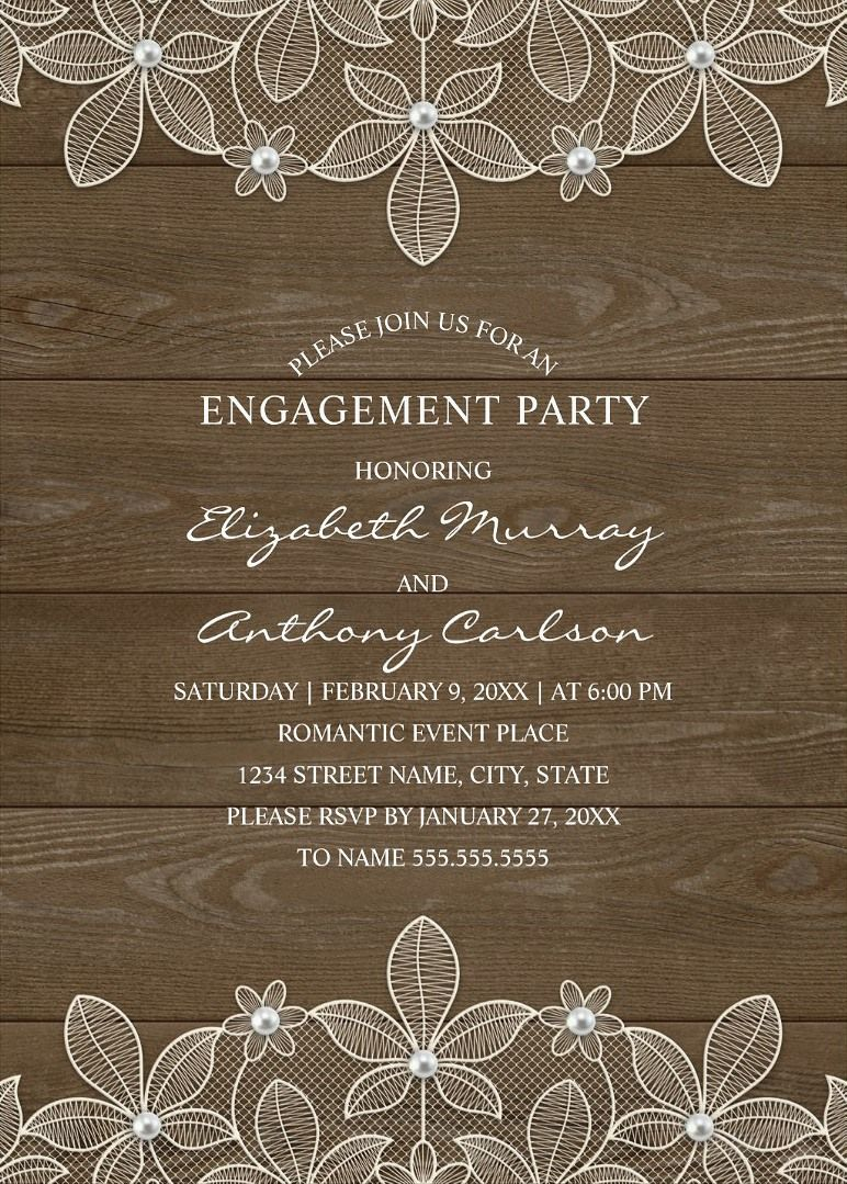 Unique Luxury Engagement Invitations Feature A Beautiful Rustic Lace Pearls Stylish Typography On Dark Wood Background