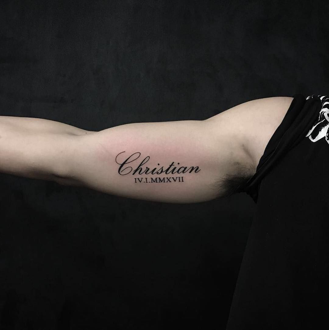 Calligraphy Tattoo Artist Toronto Script On The Inner Bicep By Ak Ak Chronicink Done At Chronic