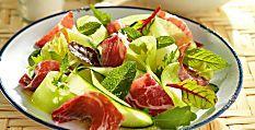 Ensalada de pepino, melón y jamón