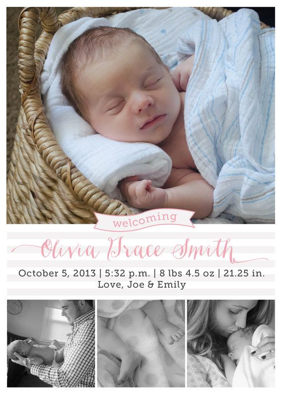 Multi Photo Birth Announcement Custom - Simple but cute