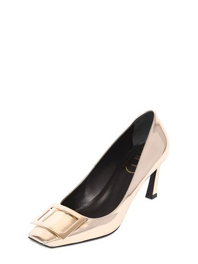 ROGER VIVIER - 70MM BELLE VIVIER MIRROR LEATHER PUMPS - LUISAVIAROMA - LUXURY SHOPPING WORLDWIDE SHIPPING - FLORENCE