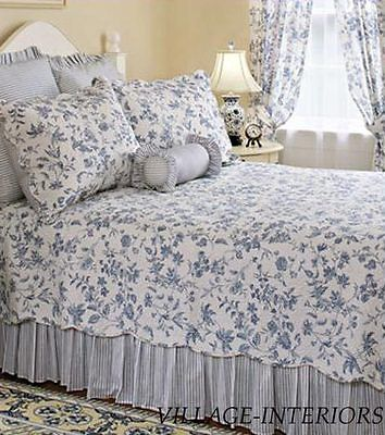 Queen Quilt Brighton Blue Toile French Country Cotton Coverlet Bedroom Decor Shabby Chic Bedrooms Chic Bedroom