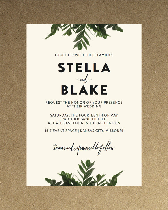Modern Botanical Greenery Wedding Invitation By Blacklabstudio