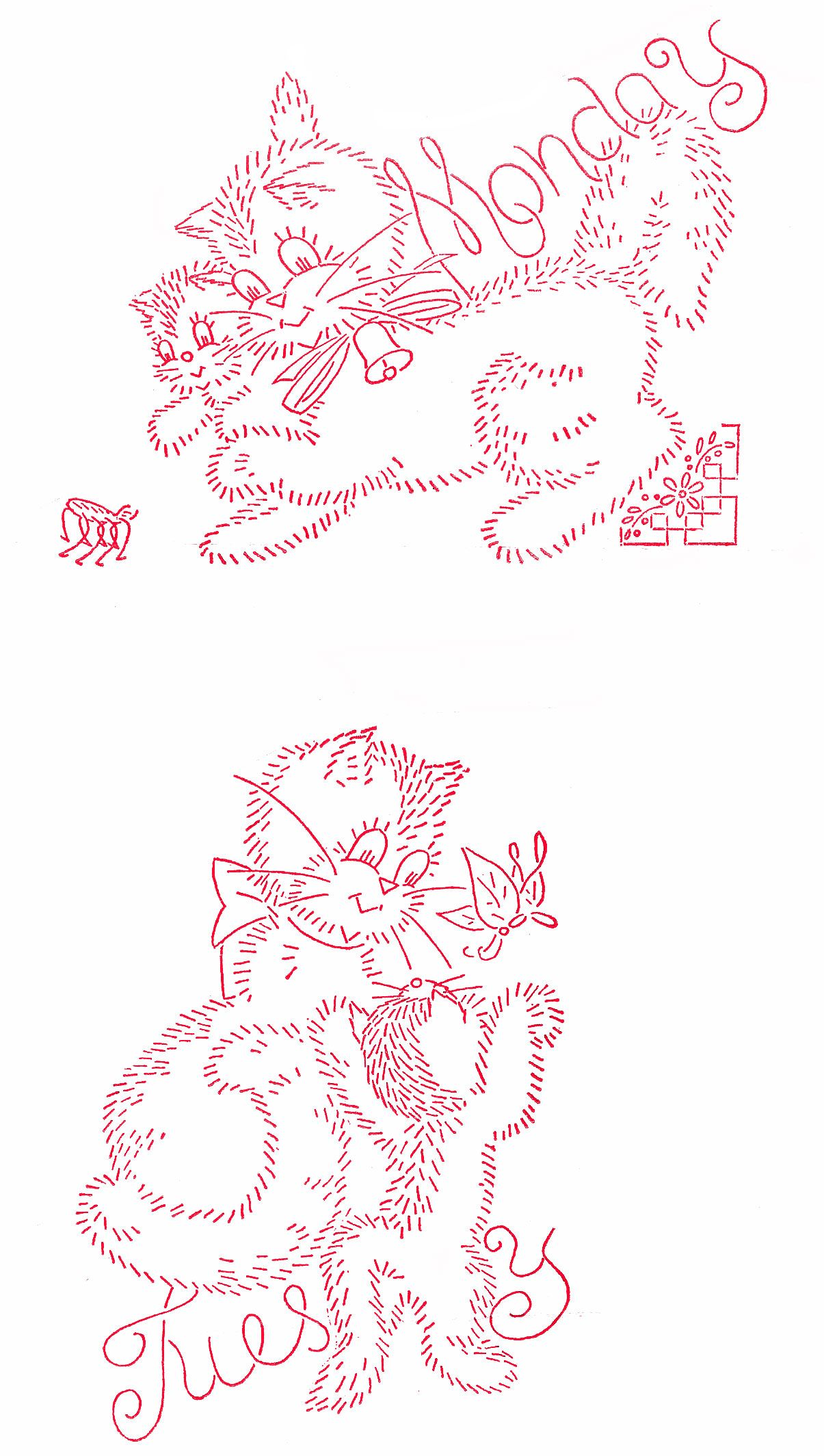 Vintage Embroidery - Cat Family DOW | Embroidery | Pinterest ...