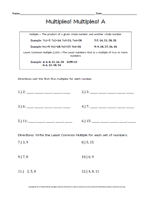 Finding Multiples Worksheets - 4.OA.4 | Student, Boxes and Worksheets