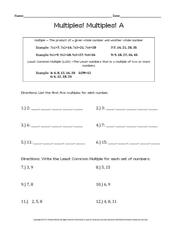 Finding Multiples Worksheets 4 Oa 4 Worksheets Math Worksheet Math Help