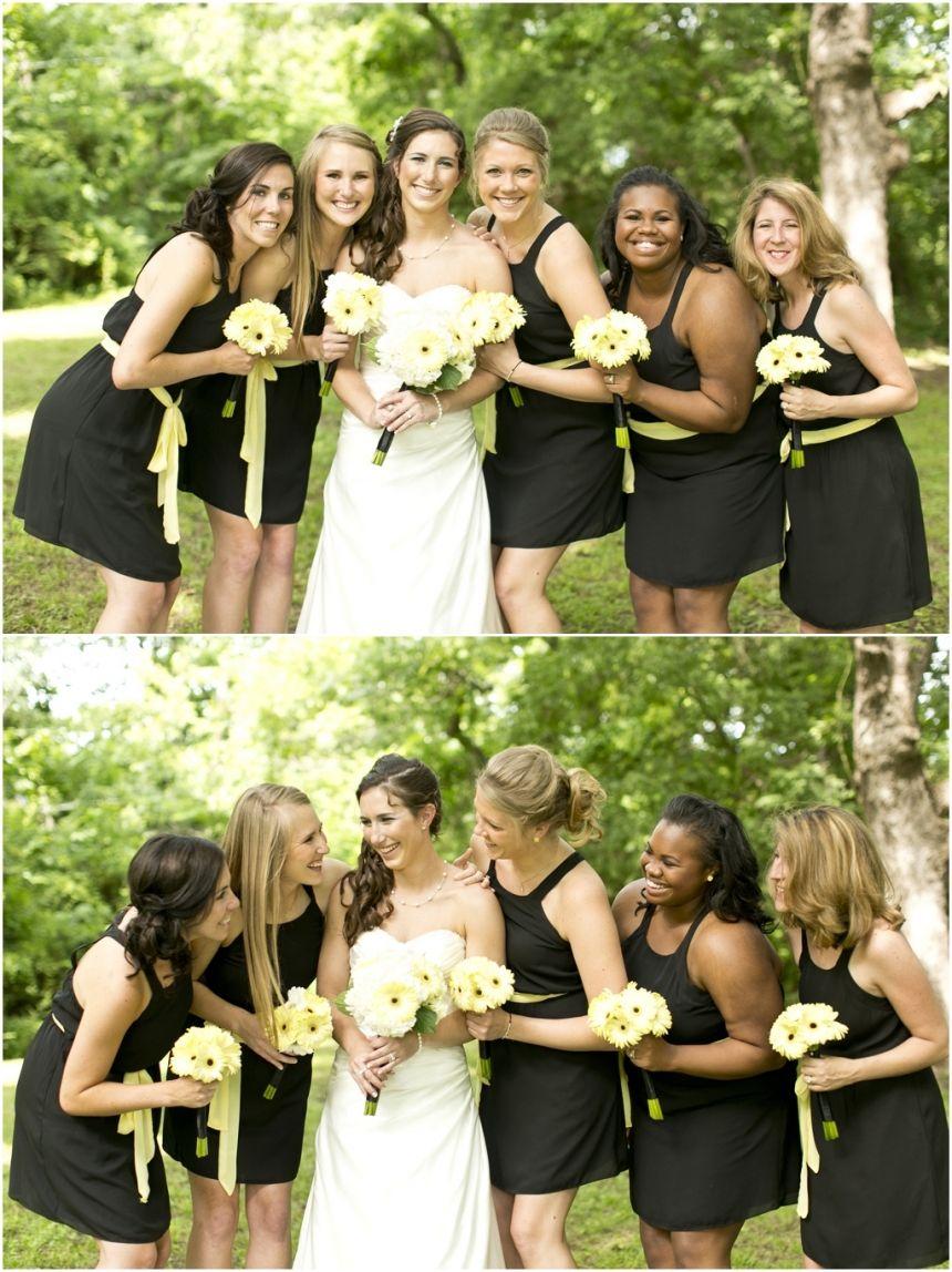 Megan joe dallas wedding photographers black bridesmaids and dallas wedding photographer black bridesmaid dresses with yellow sash bridal party photo ideas ombrellifo Image collections