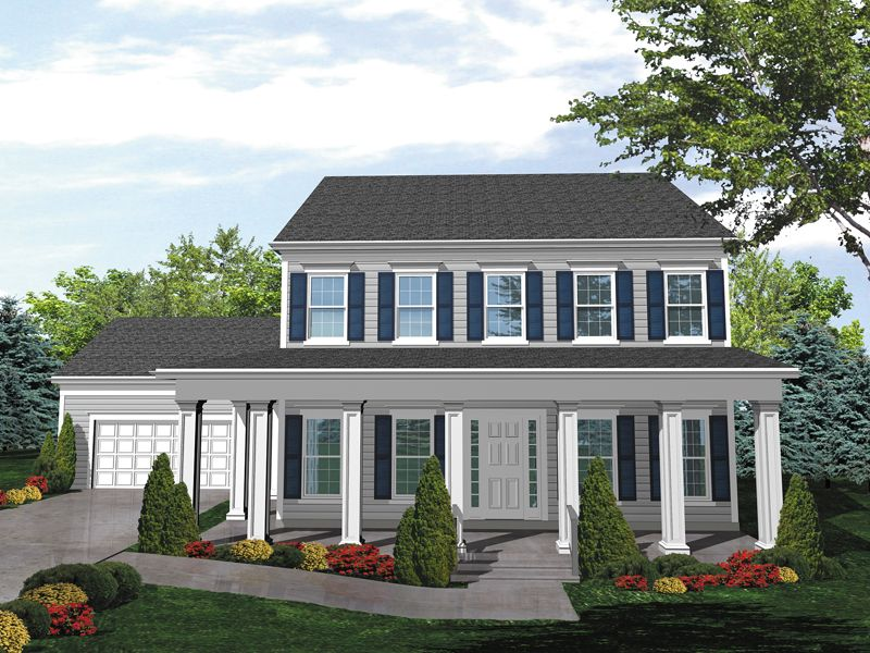 Southern colonial two story house has deep covered porch for Colonial house plans with porch