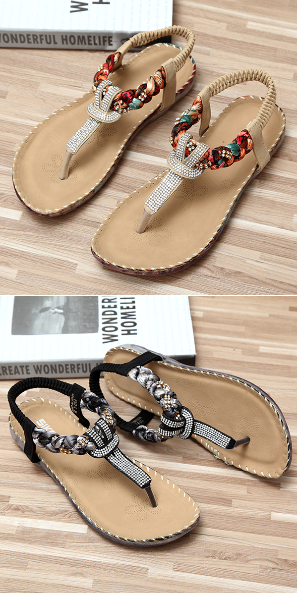 f7cbc2625c1f0 US 18.75 Bohemian Bead Floral Elastic Clip Toe T Strap Slip On Flat Beach  Sandals