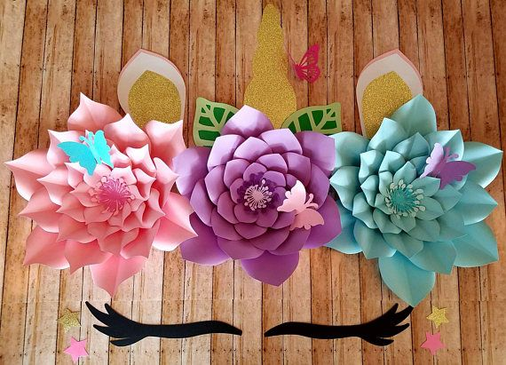 Unicorn backdrop, unicorn party, wall decor, paper flowers, unicorn ...
