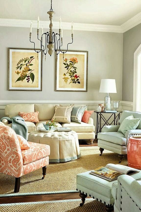 Benjamin Moore Going To The Chapel Living Room With Coral And Blue Color  Palette Part 74