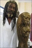 Gene Pearson, Jamaican sculptor/ceramist.  His unglazed earthenware heads and vessels with faces in carved relief are reminiscent of Nubian art. Some pieces are glazed with a white crackle glaze. More recently, he has also worked in bronze.