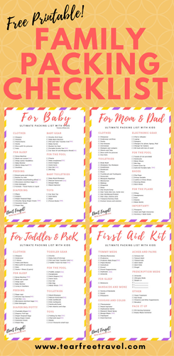 Free Printable Packing List Sample For Travel With Kids  Toddler