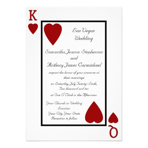 Playing Card King Queen Wedding Invitations Las Vegas Wedding - best of invitation wording lunch to follow