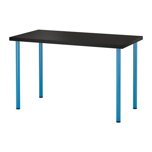 Minimalist Ikea Adjustable Table black brown top blue legs 6204 214 Pictures - Unique telescoping table legs Top Design