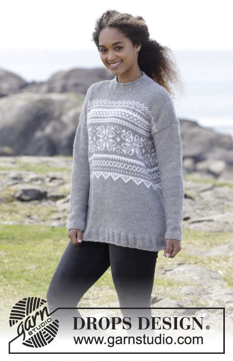 Vintermys Knitted Jumper With Multi Coloured Norwegian Pattern