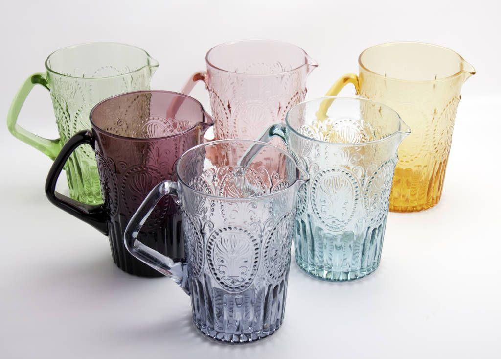 Handmade portuguese glass water jug mediterranean by j