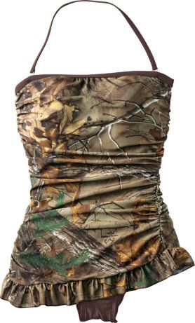 53111fef4d Realtree Girl® Women s Retro Shirred Bandeau One-Piece Swimsuit   Cabela s