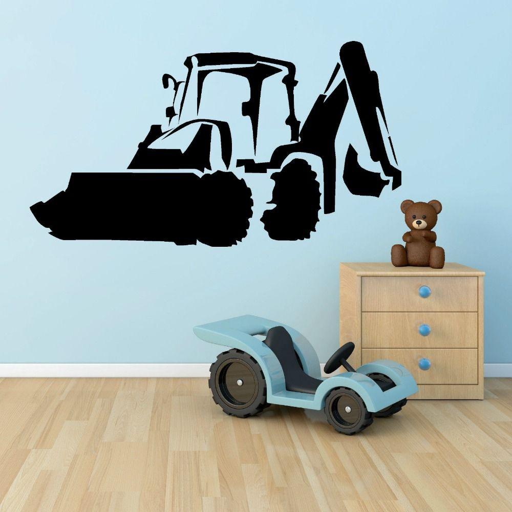Boysu bedroom wall stickers removable jcb digger wall art vinyl