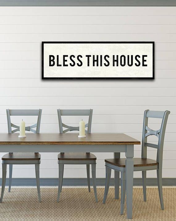 BLESS This House Sign Farmhouse Style Decor Christian Wall Art Dining Room Kitchen Vintage Large Canvas
