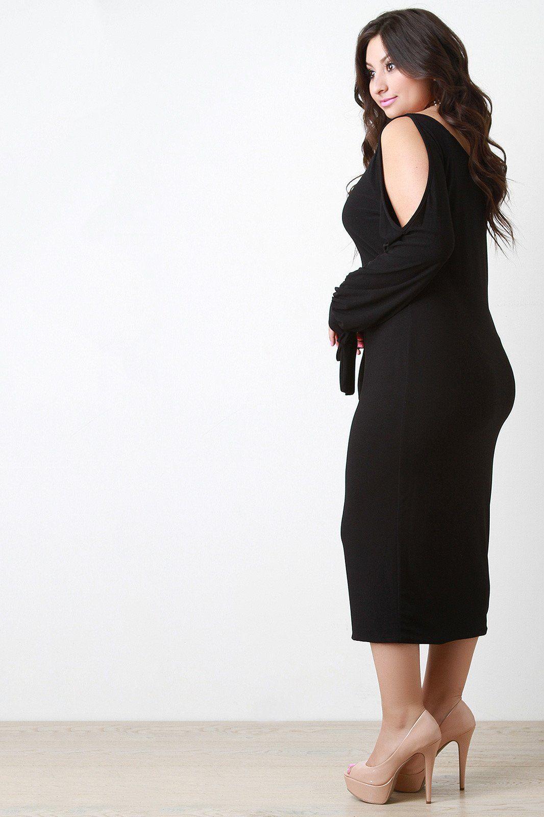 Cold shoulder long sleeve midi dress shopify merchant community