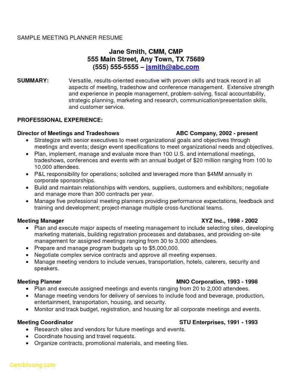 65 Cool Collection Of Sample Resume Onsite Experience Meeting Planner Event Planning Jobs Event Planner Resume