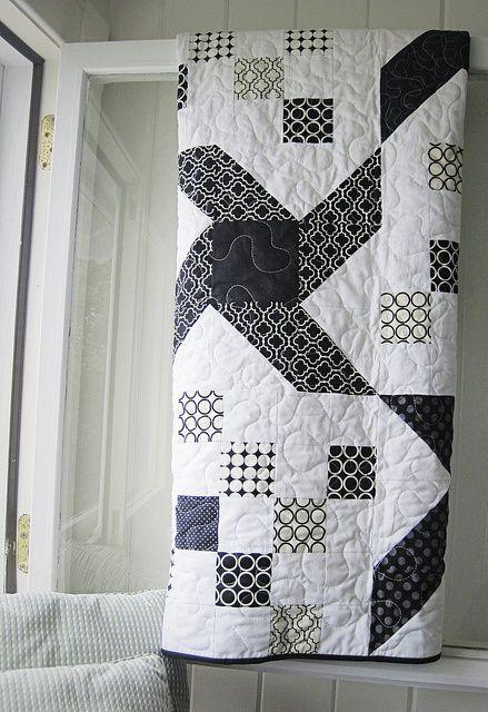 Noir et blanc OM Couvre-Lit BATIK