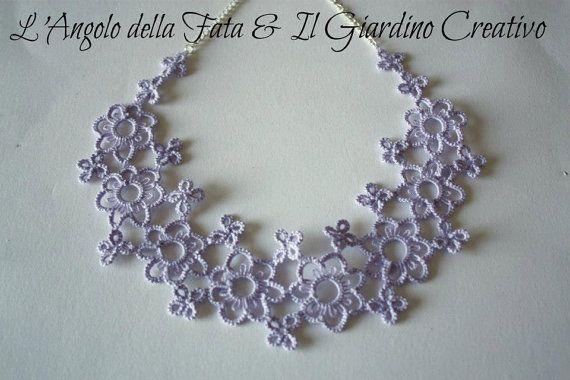 Necklace Flowers Falls cotton thread tatted by IlGiardinoCreativo, €26.00