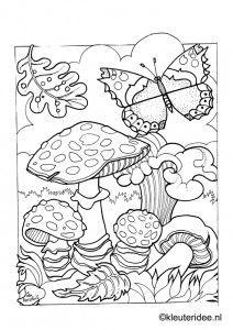 butterfly and toadstools mandala kleurplaten