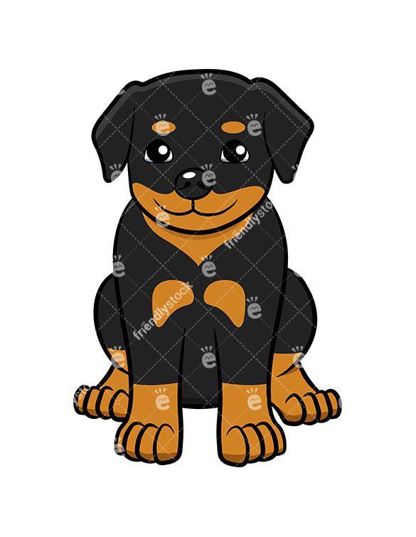 little rottweiler puppy sitting vector cartoon clipart clipart of rh pinterest com rottweiler clipart cartoon Rottweiler Artwork