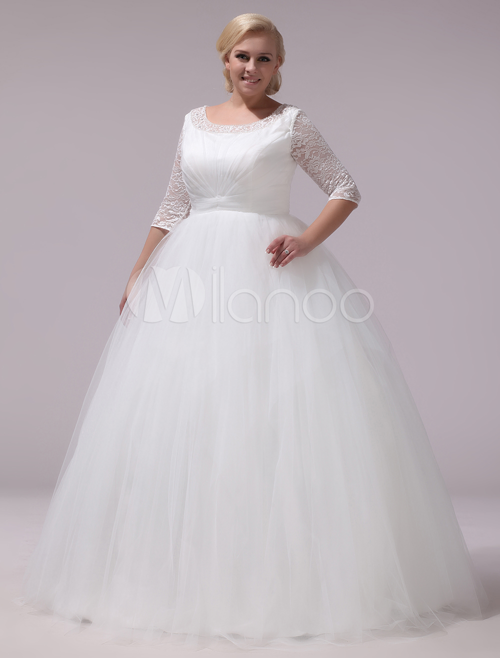 Plus size wedding dresses tulle lace half sleeve bridal gown ivory a