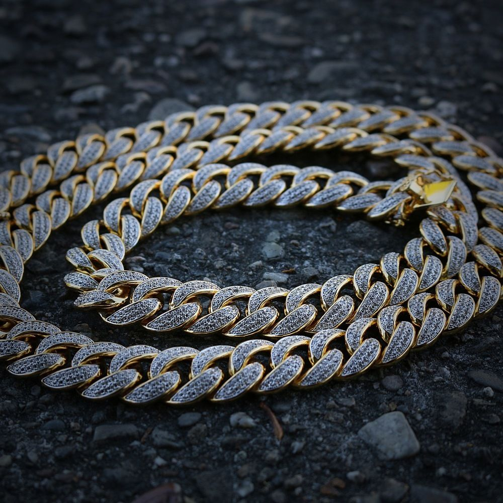 18k Gold And Rhodium Plated Lab Simulated Diamond Cuban Link Chain Cuban Link Chain Gold Cuban Link Chain Cuban Link