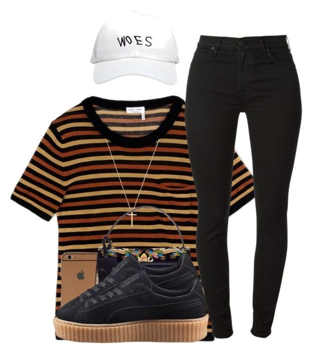"""""""Love On The Brain x Rihanna."""" by myia-bored-ass ❤ liked on Polyvore featuring Sonia Rykiel, 7 For All Mankind, Gucci, Valentino, Puma and October's Very Own"""