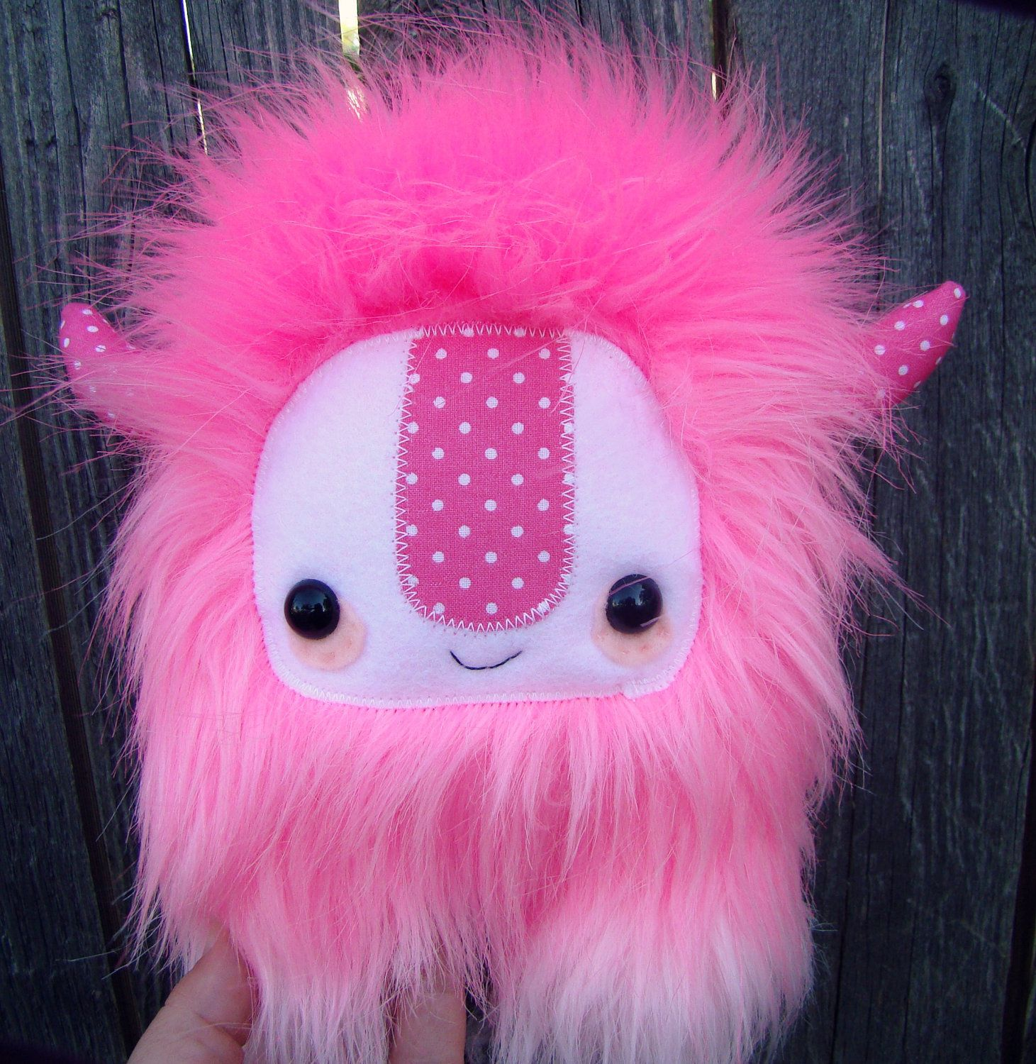 cute monster plush, stuffed Yeti, pink ombre, limited edition. $28.00 (£17.81), via Etsy.