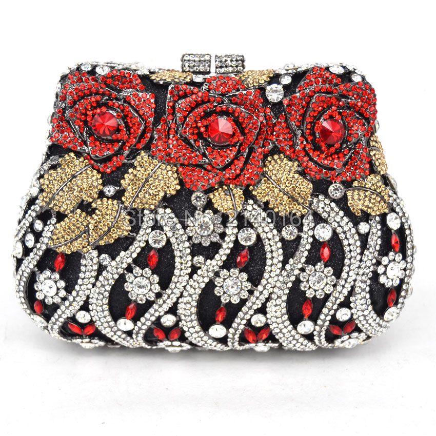 92897e1984 LaiSC Luxury crystal clutch evening bags Rose flower sparkly women diamante  bag colorful wedding banquet handbags