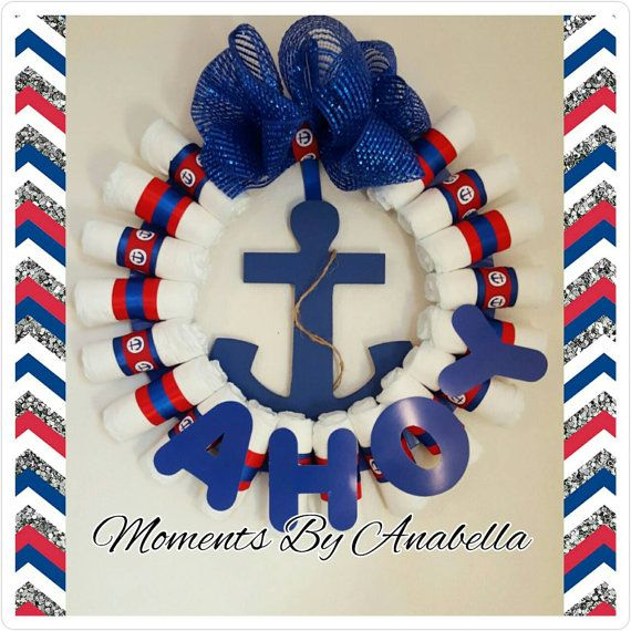 Prefect for a Baby Shower or Welcome Home Baby gift and the Mommy-to-be will absolutely love it!    This is a 14 inches wreath which contains: (21) size 1 Diapers  decorative ribbon,  Mesh Bow Anchor  AHOY letters (Optional)    ***CUSTOM ORDERS ARE WELCOME***