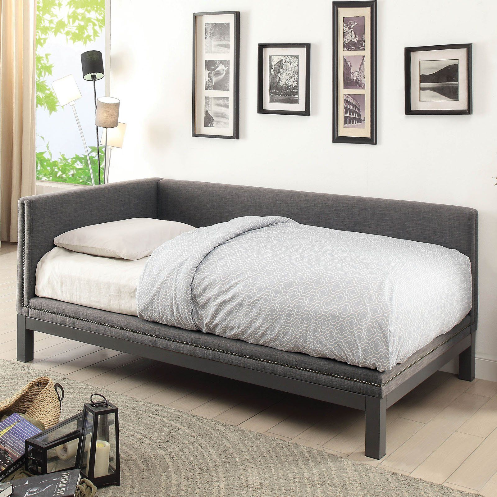 Furniture of America Johana Faux Linen Nailhead Daybed in
