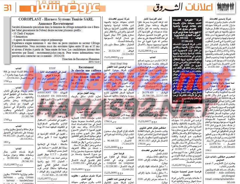 وظائف تونس عروض شغل في تونس من جريدة الشروق 22 3 2015 Event Ticket Event