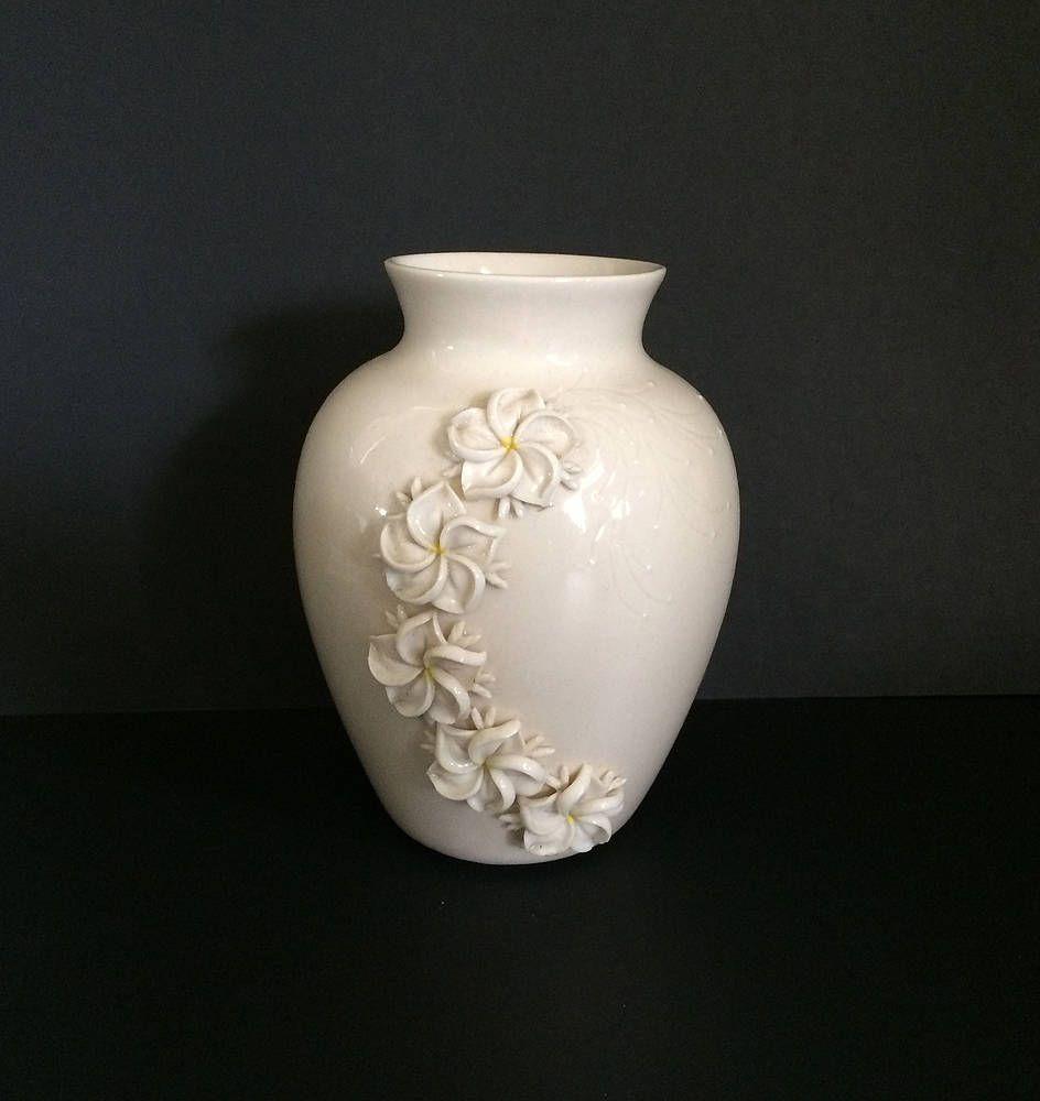 1950s mid century flowers small vase turquoise metallic gold design white