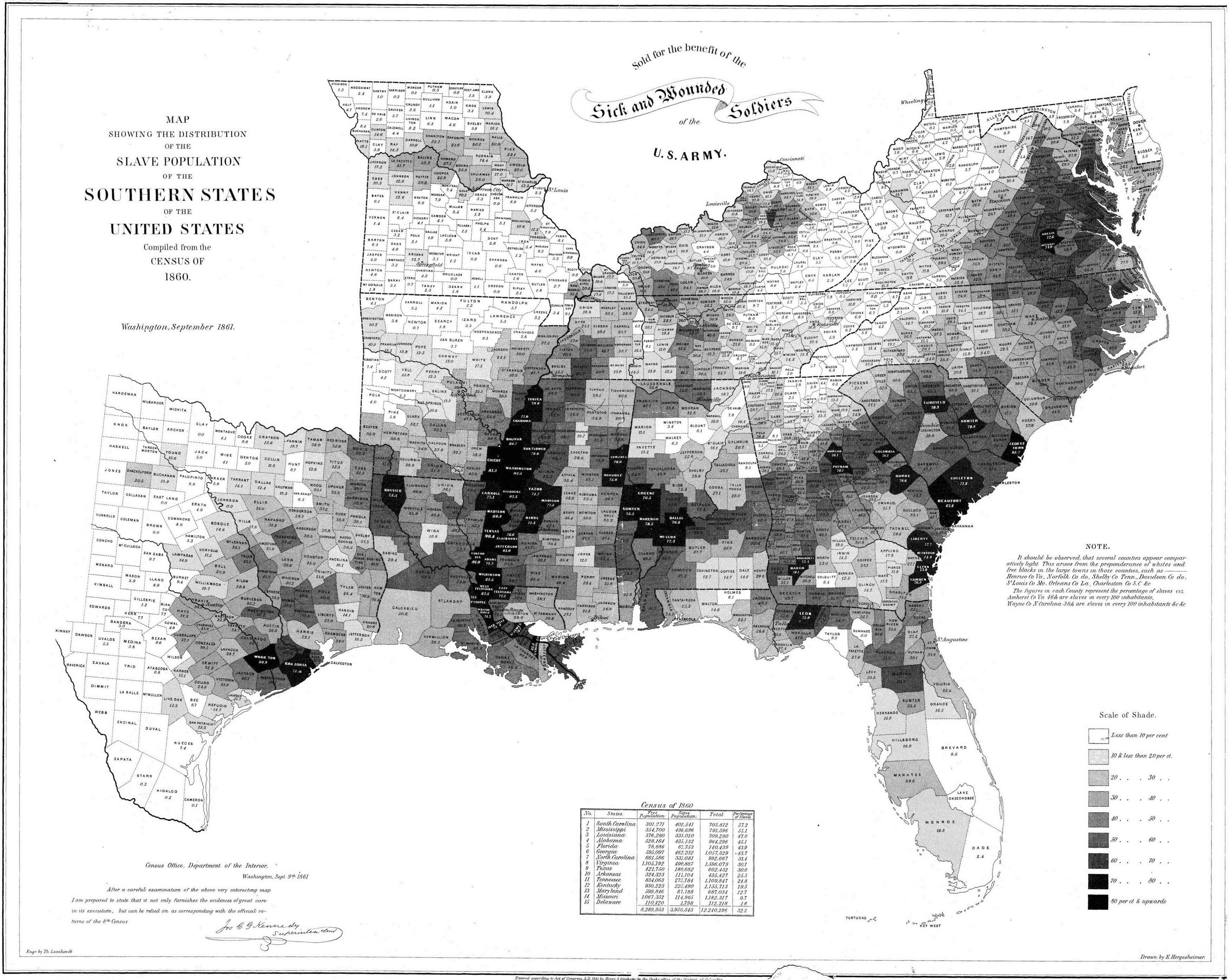 Enslaved population of the Southern States of