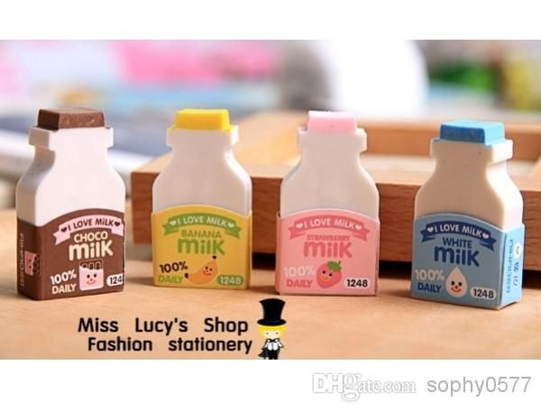 Wholesale Double Coated - Buy 2014 New Arrival 1LOT OF milk Bottle Colorful Set Eraser/korean Cute Stationery, $0.75 | DHgate