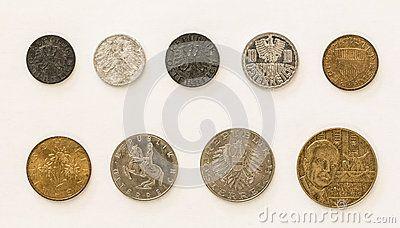 Austrian Coins 1 2 5 10 20 50 Groschen Schilling Dreamstime