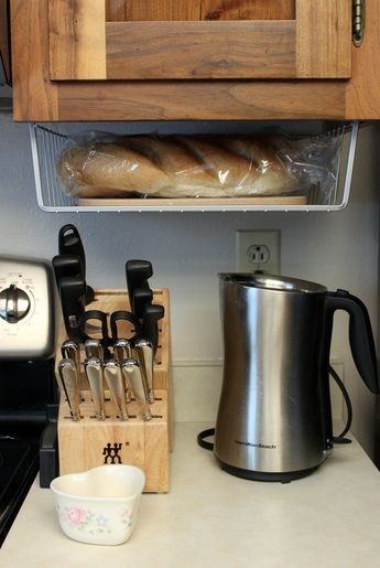 Under Cabinet Bread Basket Kitchen Counter Storage Bread